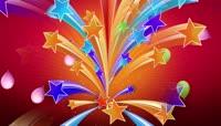 卡通风格五彩星星飞舞可爱背景