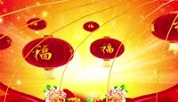中国红福字灯笼喜庆背景
