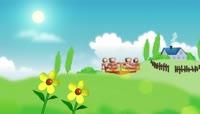 卡通风格小熊草地游乐场可爱背景