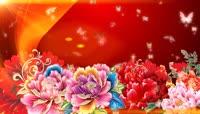 中国红流光风格牡丹花蝴蝶飞舞背景