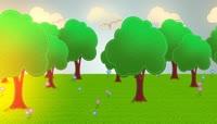 卡通风格可爱的树与草地场景