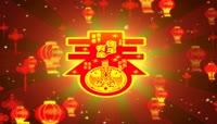 中国红流光风格新年灯笼喜庆背景