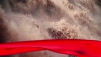 气势磅礴黄河红绸子正能量背景