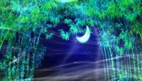 流光风格树林月亮水塘唯美场景