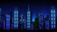 卡通风格悲伤城市雨夜后期特效视频素材
