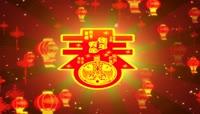 中国红流光风格新年灯笼中国结喜庆背景
