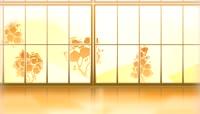 剪纸风格窗外美景恬静背景