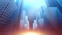 流光风格3D楼宇高耸城市唯美背景