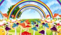 卡通风格绚丽蘑菇彩虹可爱背景