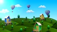 卡通风格3D田园风光可爱背景