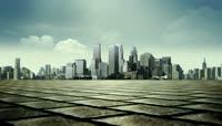 3D城市钢铁森林深邃背景