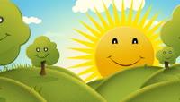 卡通风格太阳树林笑脸可爱背景