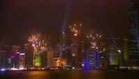 城市夜景烟花高清实拍视频素材