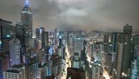 九十度旋转拍摄 大城市建筑 商务楼群灯光夜景快速镜头 高清实拍