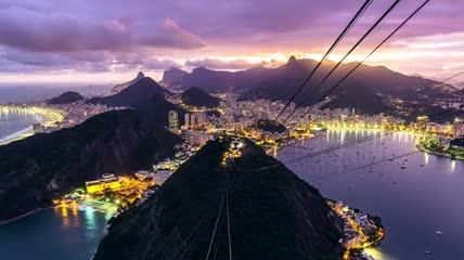 里约热内卢城市风光  梦幻的爆布海水彩虹
