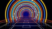 流光风格绚丽霓虹拱形隧道背景