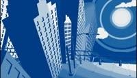 轻松惬意的卡通抽象城市三维剪影背景视频