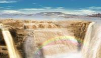 大气磅礴黄河瀑布彩虹桥梁LED动态背景视频素材