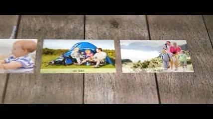 木板上的照片展示