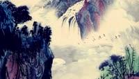 中国风国画山水云海水墨画