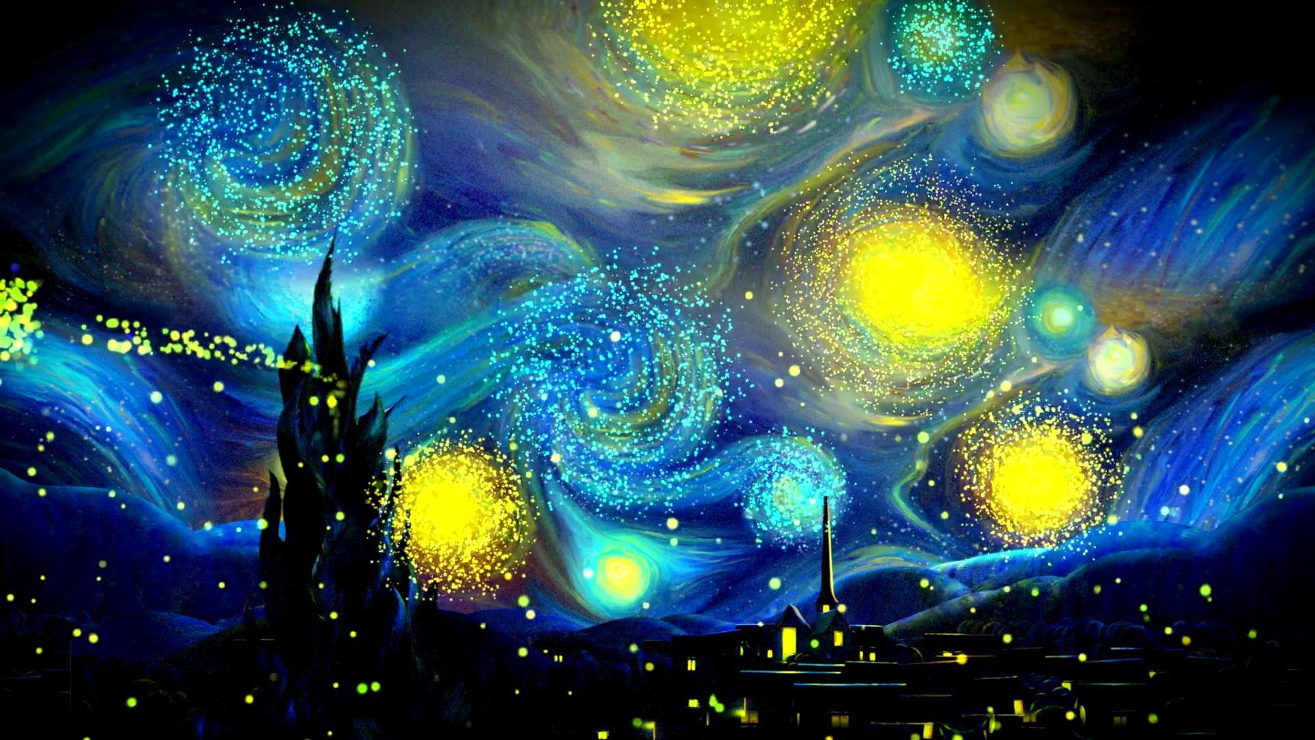 梵高星空粒子演出背景
