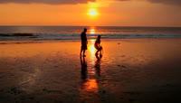 在夕阳下遛狗玩耍的恋人素材 couple playing on beach with dog at sunset in bali