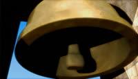 流光风格3D铜钟唯美背景