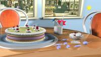流光风格3D蛋糕唯美背景