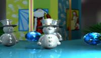 流光风格3D可爱雪人唯美背景
