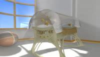 流光风格3D婴儿床可爱背景
