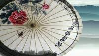 水墨风格折伞水乡唯美背景