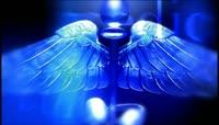 流光风格3D天使翅膀权杖唯美背景