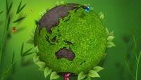 流光风格环保绿地球转动唯美背景