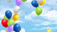 流光风格3D气球升起唯美背景