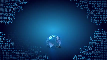 粒子风格3D地球旋转酷炫背景
