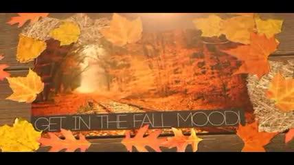金色枫叶边框中的回忆相片展示