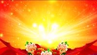 丝绸牡丹歌舞中国风