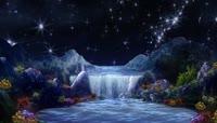 月光瀑布夜光蝴蝶星空粒子