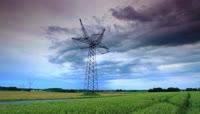 4K田野农田高压线电塔