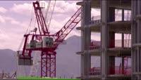 4K建筑施工塔吊吊车盖房子