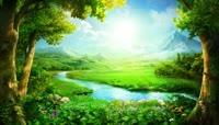 春天小河流水草原美景唯美视频