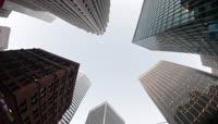 4K仰拍楼群写字楼现代都市建筑高楼大厦