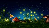 星空夜景草地蘑菇萤火虫