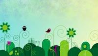儿童视频背景灌木小鸟向日葵场景