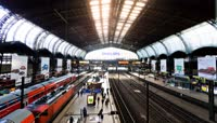 德国汉堡中央火车站延时摄影素材