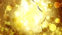 金色的粒子光斑及金色的彩带 婚礼片头