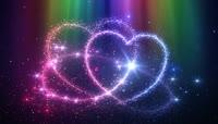粒子风格3D炫彩爱心唯美背景