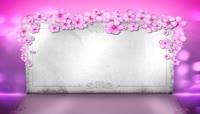 粉色小花婚礼布景背板LED视频素材