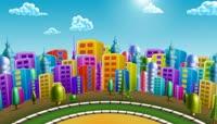 六一儿童节视频素材 LED大屏幕舞台背景  极品转动的卡通城市