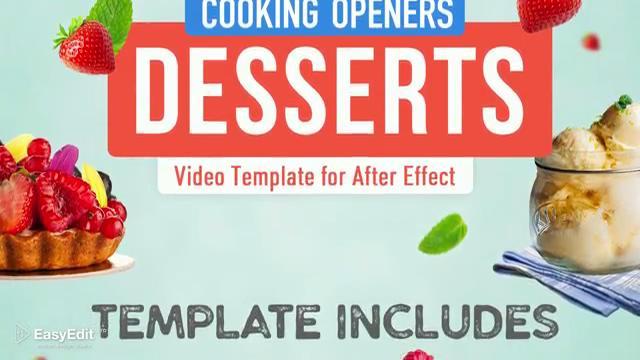 清新又新鲜的美食甜品料理栏目主题包装AE模板